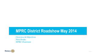 MPRC District Roadshow May 2014 Overview & Objectives Nick Drake MPRC Chairman