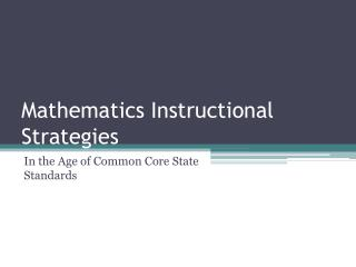 Mathematics Instructional Strategies