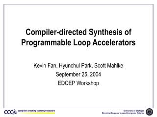 Compiler-directed Synthesis of Programmable Loop Accelerators