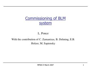 Commissioning of BLM system