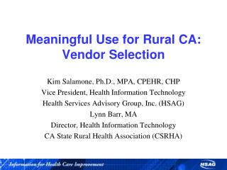 Meaningful Use for Rural CA: Vendor Selection