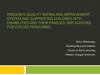 Family Child Care Quality: Implications for Children with Disabilities