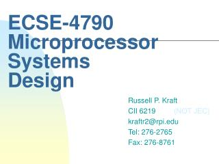 ECSE-4790 Microprocessor Systems Design