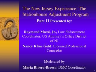 The New Jersey Experience: The Stationhouse Adjustment Program