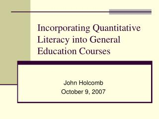 Incorporating Quantitative Literacy into General Education Courses