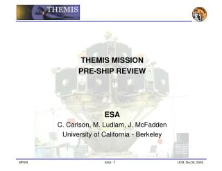 THEMIS MISSION  PRE-SHIP REVIEW  ESA C. Carlson, M. Ludlam, J. McFadden