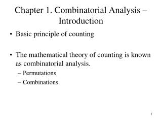 Chapter 1. Combinatorial Analysis – Introduction