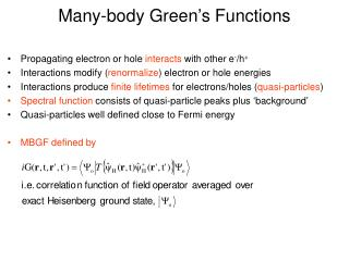 Many-body Green's Functions