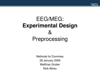 EEG/MEG:  Experimental Design &  Preprocessing