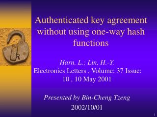 Authenticated key agreement without using one-way hash functions