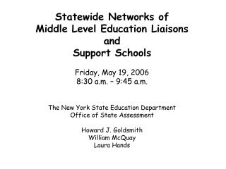 NYS completed its first year of NCLB required testing in January (ELA) and March (Math) 2006.