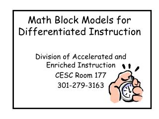 Math Block Models for Differentiated Instruction
