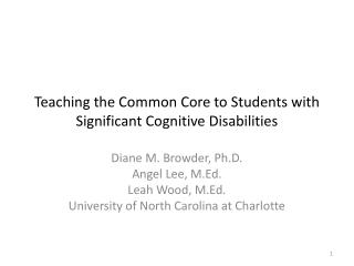 Teaching the Common Core to Students with Significant Cognitive Disabilities