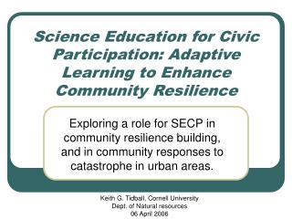 Science Education for Civic Participation: Adaptive Learning to Enhance Community Resilience