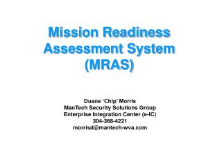Mission Readiness Assessment System (MRAS)