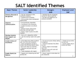 SALT Identified Themes