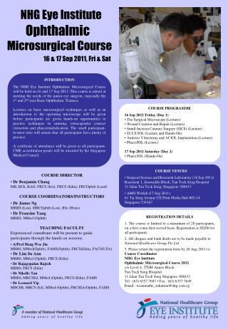 NHG Eye Institute Ophthalmic  Microsurgical Course
