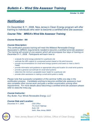 Bulletin 4 – Wind Site Assessor Training