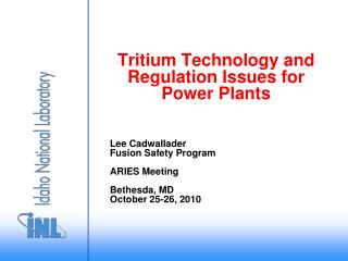 Tritium Technology and Regulation Issues for Power Plants