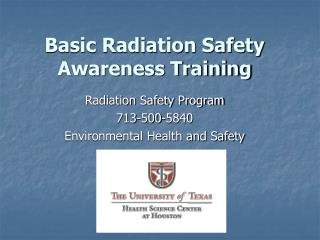 Basic Radiation Safety Awareness Training