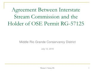 Agreement Between Interstate Stream Commission and the Holder of OSE Permit RG-57125