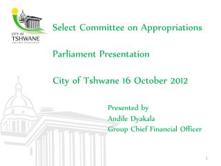 Select Committee on Appropriations  Parliament Presentation City of Tshwane 16 October 2012