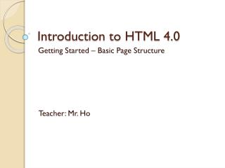 Introduction to HTML 4.0