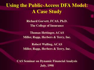 Using the Public-Access DFA Model:  A Case Study