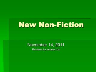 New Non-Fiction