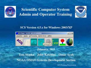 Scientific Computer System Admin and Operator Training