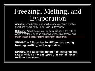 Freezing, Melting, and Evaporation