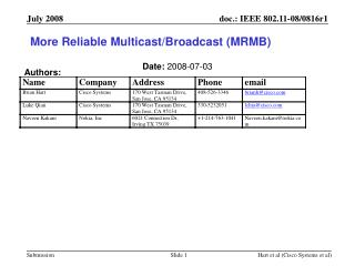 More Reliable Multicast/Broadcast (MRMB)