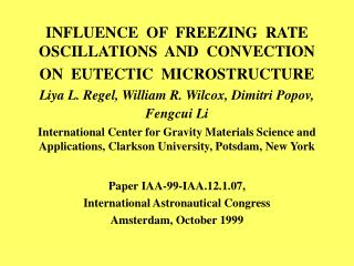 INFLUENCE  OF  FREEZING  RATE  OSCILLATIONS  AND  CONVECTION  ON  EUTECTIC  MICROSTRUCTURE