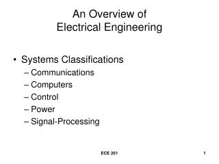 An Overview of  Electrical Engineering