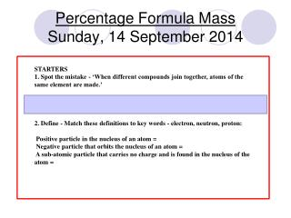 Percentage Formula Mass Sunday, 14 September 2014