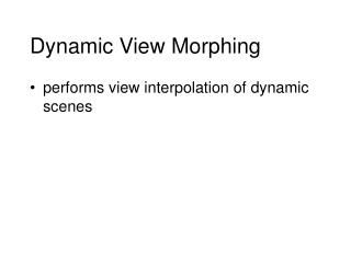 Dynamic View Morphing