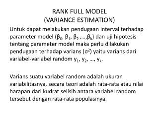 RANK FULL MODEL (VARIANCE ESTIMATION)