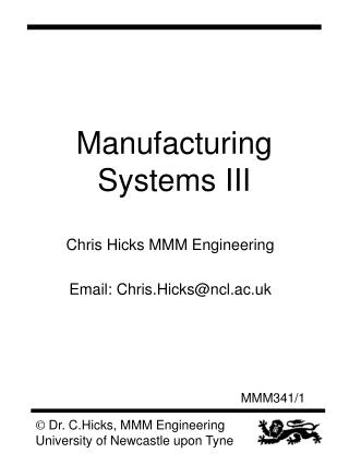 Manufacturing Systems III