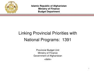 Linking Provincial Priorities with National Programs:  1391