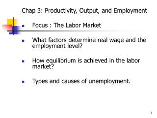 Chap 3: Productivity, Output, and Employment Focus : The Labor Market