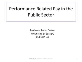 Performance Related Pay  in the Public Sector