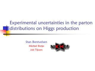 Experimental uncertainties in the parton distributions on Higgs production