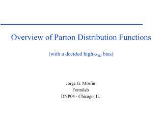 Overview of Parton Distribution Functions (with a decided high-x BJ  bias)