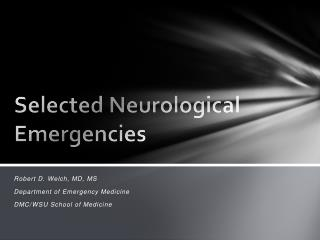 Selected Neurological Emergencies