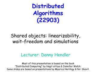 Distributed Algorithms  (22903)