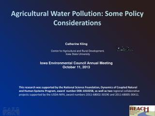 Agricultural  Water Pollution:  Some Policy Considerations