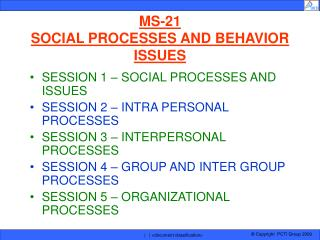 MS-21 SOCIAL PROCESSES AND BEHAVIOR ISSUES