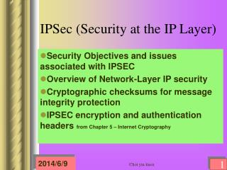 IPSec (Security at the IP Layer)