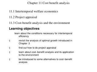 Chapter 11 Cost benefit analysis