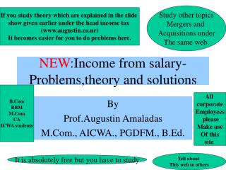 NEW :Income from salary-Problems,theory and solutions